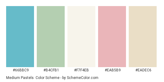 Medium Pastels - Color scheme palette thumbnail - #66bbc9 #b4cfb1 #f7f4eb #eab5b9 #eadec6
