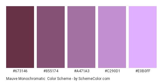 Mauve Monochromatic - Color scheme palette thumbnail - #673146 #855174 #A471A3 #C290D1 #E0B0FF
