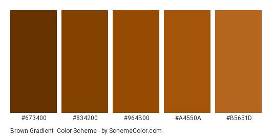 Brown Gradient - Color scheme palette thumbnail - #673400 #834200 #964b00 #a4550a #b5651d