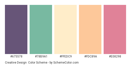 Creative Design - Color scheme palette thumbnail - #675578 #78B9A1 #FFEDC9 #FDC89A #E08298
