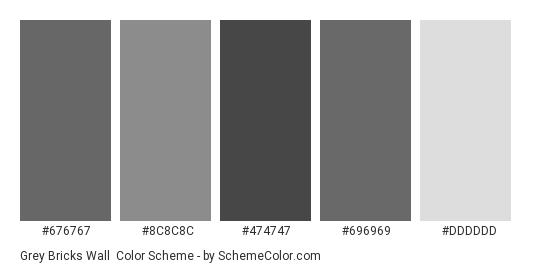 Grey Bricks Wall - Color scheme palette thumbnail - #676767 #8C8C8C #474747 #696969 #DDDDDD