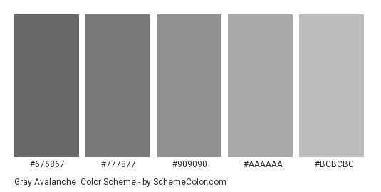 Gray Avalanche - Color scheme palette thumbnail - #676867 #777877 #909090 #aaaaaa #bcbcbc