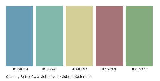 Calming Retro - Color scheme palette thumbnail - #679cb4 #81b6ab #d4cf97 #a67376 #83ab7c