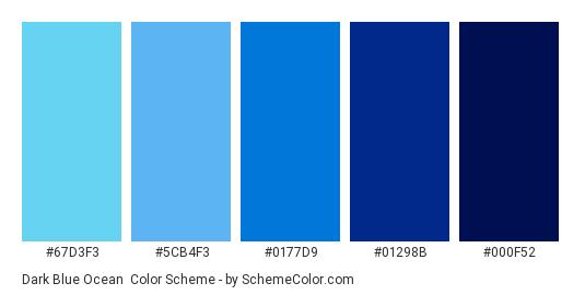 Dark Blue Ocean - Color scheme palette thumbnail - #67D3F3 #5CB4F3 #0177D9 #01298B #000F52