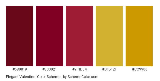 Elegant Valentine - Color scheme palette thumbnail - #680819 #800021 #9F1D34 #D1B12F #CC9900