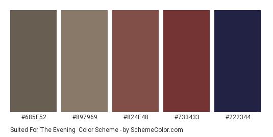 Suited for the Evening - Color scheme palette thumbnail - #685e52 #897969 #824e48 #733433 #222344