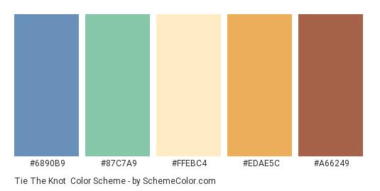Tie the Knot - Color scheme palette thumbnail - #6890B9 #87C7A9 #FFEBC4 #EDAE5C #A66249