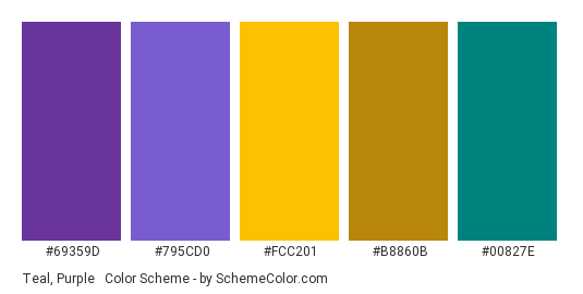 Teal, Purple & Gold - Color scheme palette thumbnail - #69359D #795CD0 #FCC201 #B8860B #00827E