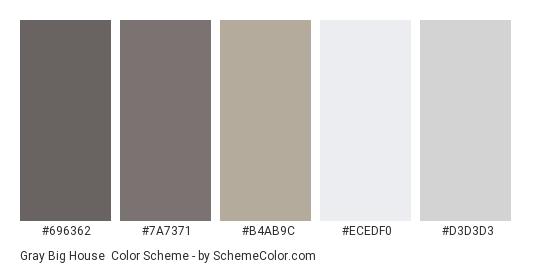 Gray Big House - Color scheme palette thumbnail - #696362 #7a7371 #b4ab9c #ecedf0 #d3d3d3