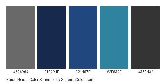 Harsh Noise - Color scheme palette thumbnail - #696969 #18294e #21487e #2f839f #353434