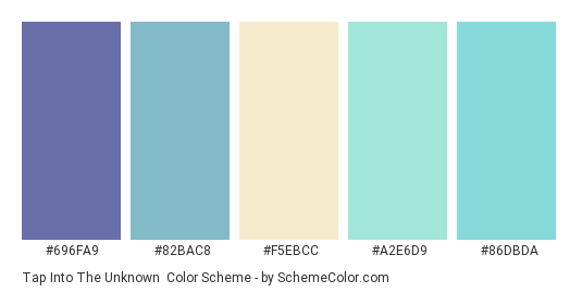 Tap into the Unknown - Color scheme palette thumbnail - #696FA9 #82BAC8 #F5EBCC #A2E6D9 #86DBDA