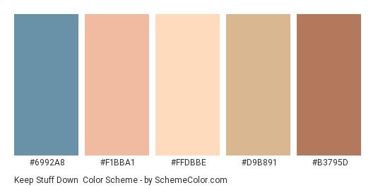Keep Stuff Down - Color scheme palette thumbnail - #6992A8 #F1BBA1 #FFDBBE #D9B891 #B3795D