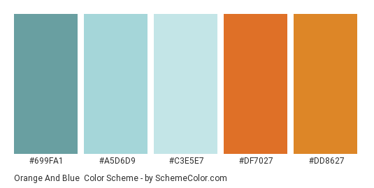 Orange And Blue Color Scheme Palette Thumbnail 699fa1 A5d6d9 C3e5e7