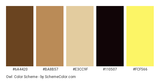 Owl - Color scheme palette thumbnail - #6A4420 #BA8B57 #E3CC9F #110507 #FCF566