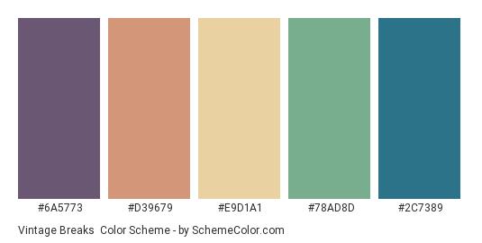 Vintage Breaks - Color scheme palette thumbnail - #6A5773 #D39679 #E9D1A1 #78AD8D #2C7389