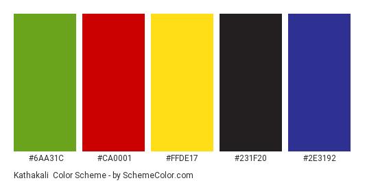Kathakali - Color scheme palette thumbnail - #6AA31C #CA0001 #FFDE17 #231F20 #2E3192