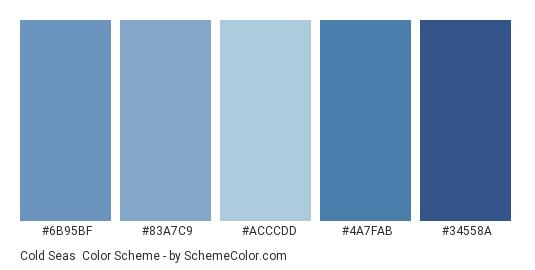 Cold Seas - Color scheme palette thumbnail - #6B95BF #83A7C9 #ACCCDD #4A7FAB #34558A