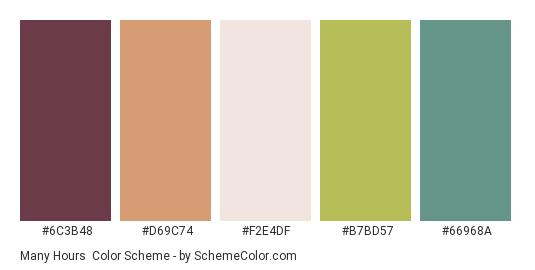 Many Hours - Color scheme palette thumbnail - #6C3B48 #D69C74 #F2E4DF #B7BD57 #66968A