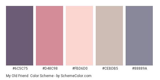 My Old Friend - Color scheme palette thumbnail - #6C5C75 #D48C98 #FBD6D0 #CEBDB5 #88889A