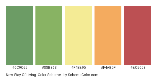 New Way of Living - Color scheme palette thumbnail - #6C9C65 #88B363 #F4EB95 #F4AB5F #BC5053