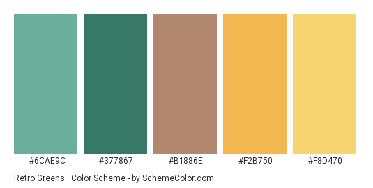 Retro Greens & Yellows - Color scheme palette thumbnail - #6CAE9C #377867 #b1886e #F2B750 #F8D470