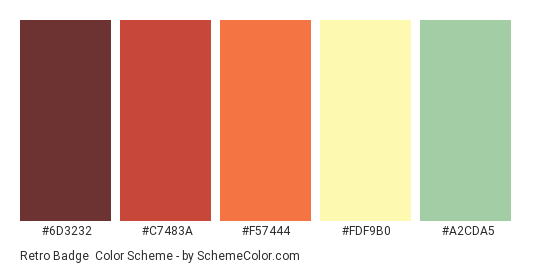 Retro Badge - Color scheme palette thumbnail - #6D3232 #C7483A #F57444 #FDF9B0 #A2CDA5