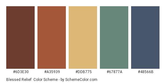 Blessed Relief - Color scheme palette thumbnail - #6D3E30 #A35939 #DDB775 #67877A #48566B