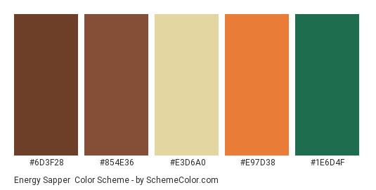 Energy Sapper - Color scheme palette thumbnail - #6D3F28 #854E36 #E3D6A0 #E97D38 #1E6D4F