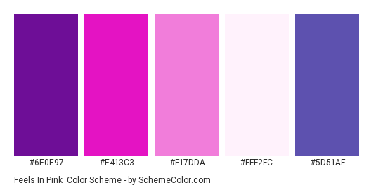 Feels in Pink - Color scheme palette thumbnail - #6E0E97 #E413C3 #F17DDA #FFF2FC #5D51AF