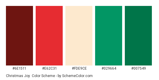 Christmas Joy - Color scheme palette thumbnail - #6E1511 #E62C31 #FDE9CE #029664 #007549