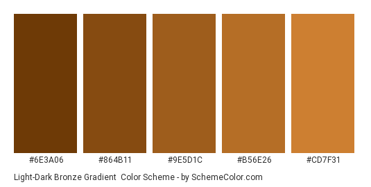 Light-Dark Bronze Gradient - Color scheme palette thumbnail - #6E3A06 #864B11 #9E5D1C #B56E26 #CD7F31