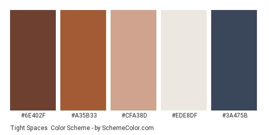 Tight Spaces - Color scheme palette thumbnail - #6E402F #A35B33 #CFA38D #EDE8DF #3A475B