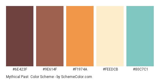 Mythical Past - Color scheme palette thumbnail - #6E423F #9E614F #F1974A #FEEDCB #80C7C1