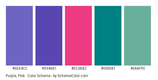 Purple, Pink & Teal - Color scheme palette thumbnail - #6E64C2 #5946B1 #EC3B82 #008081 #68AF9C