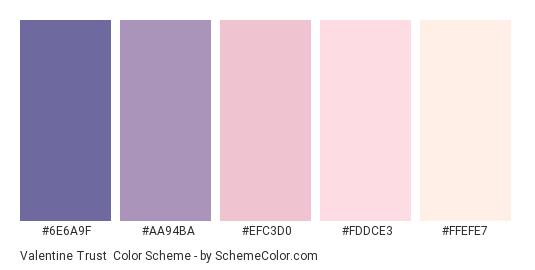 Valentine Trust - Color scheme palette thumbnail - #6E6A9F #AA94BA #EFC3D0 #FDDCE3 #FFEFE7