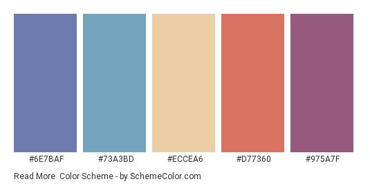 Read More - Color scheme palette thumbnail - #6E7BAF #73A3BD #ECCEA6 #D77360 #975A7F