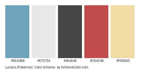 Lucario (Pokemon) - Color scheme palette thumbnail - #6EA4BB #E7E7E6 #464646 #C04C4B #F0DBA5