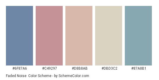 Faded Noise - Color scheme palette thumbnail - #6F87A6 #C49297 #D8B8AB #DBD3C2 #87A8B1