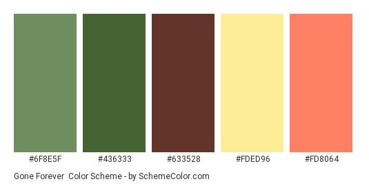 Gone Forever - Color scheme palette thumbnail - #6F8E5F #436333 #633528 #FDED96 #FD8064