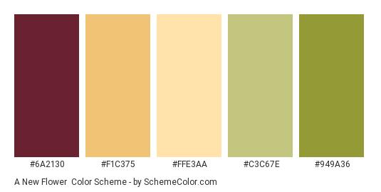 A New Flower - Color scheme palette thumbnail - #6a2130 #f1c375 #ffe3aa #c3c67e #949a36