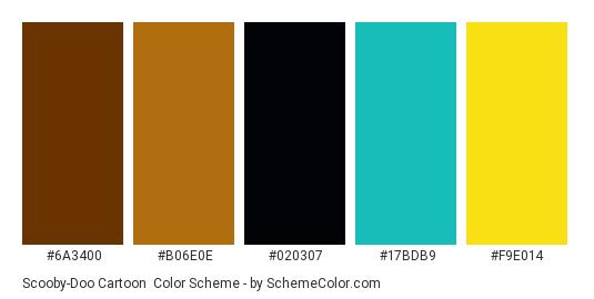 Scooby-Doo Cartoon - Color scheme palette thumbnail - #6a3400 #b06e0e #020307 #17bdb9 #f9e014