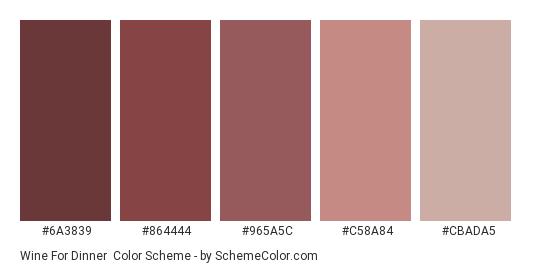 Wine for Dinner - Color scheme palette thumbnail - #6a3839 #864444 #965a5c #c58a84 #cbada5