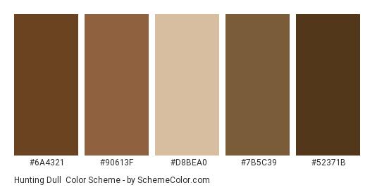 Hunting Dull - Color scheme palette thumbnail - #6a4321 #90613f #d8bea0 #7b5c39 #52371b