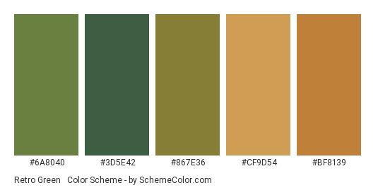 Retro Green & Orange - Color scheme palette thumbnail - #6a8040 #3d5e42 #867e36 #cf9d54 #bf8139
