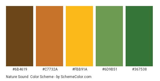 Nature Sound - Color scheme palette thumbnail - #6b4619 #c7732a #fbb91a #6d9b51 #367538