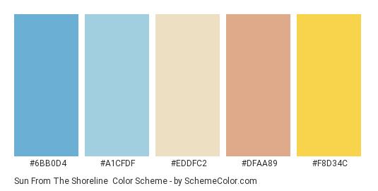 Sun from the Shoreline - Color scheme palette thumbnail - #6bb0d4 #a1cfdf #eddfc2 #dfaa89 #f8d34c