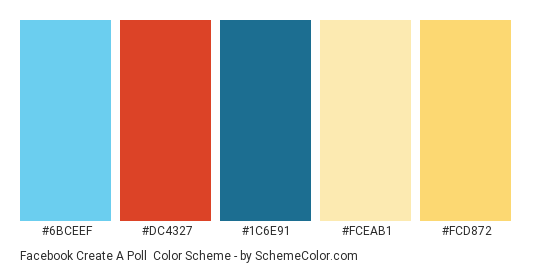 Facebook Create a Poll - Color scheme palette thumbnail - #6bceef #dc4327 #1c6e91 #fceab1 #fcd872