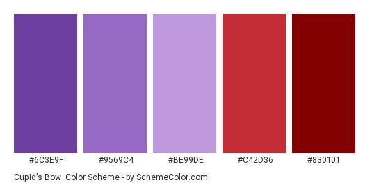 Cupid's Bow - Color scheme palette thumbnail - #6c3e9f #9569c4 #be99de #c42d36 #830101