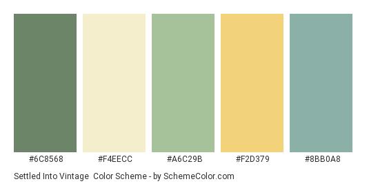 Settled into Vintage - Color scheme palette thumbnail - #6c8568 #f4eecc #a6c29b #f2d379 #8bb0a8
