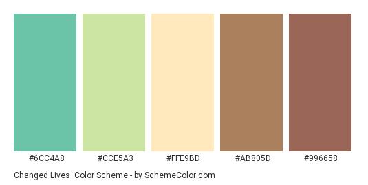 Changed Lives - Color scheme palette thumbnail - #6cc4a8 #cce5a3 #ffe9bd #ab805d #996658